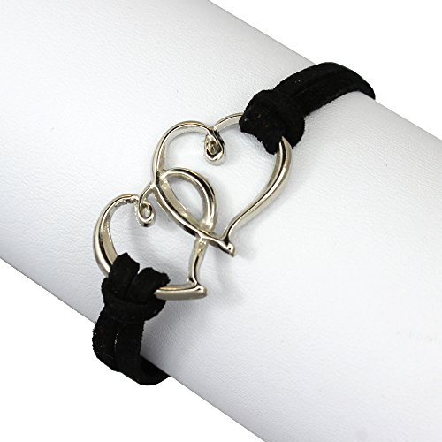 Hearts Linked (Zinc & Black Suede Leather Linked Hearts Double Strand Wrap Bracelet, Jewelry for Women & Girls)