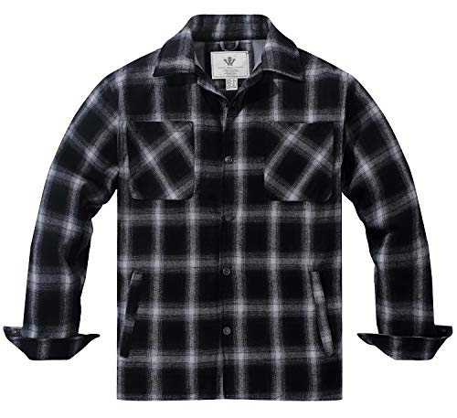 Camisa Hombre Wenven Franela Mangas Largas De Chaqueta Negro Para rrqw06EP
