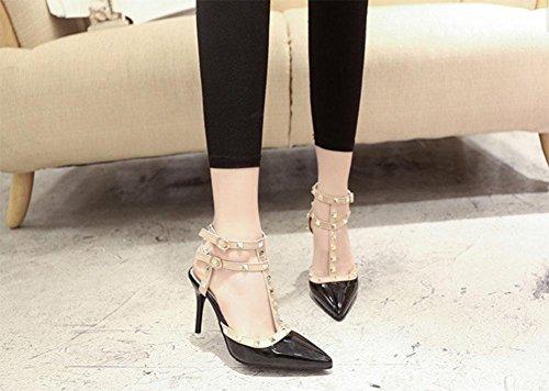 Rivet señaló los zapatos de tacón alto finos con sandalias de tacón alto atractivos zapatos T-correa zapatos de la marea naranja Black