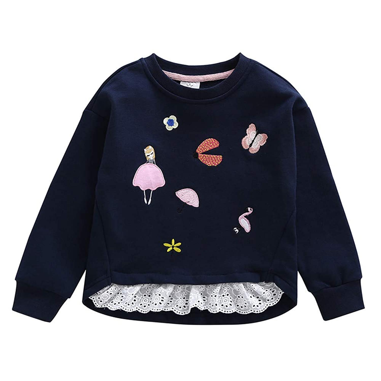 HYIRI Toddler Infant Baby Girls Embroidery Splicing Sweatshirt Tops Pullover Blouse