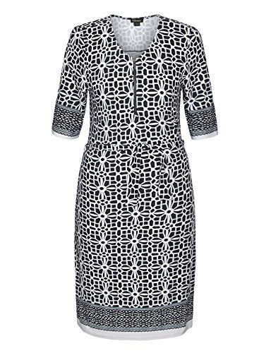 Chicwe Women's Zip Round Neck and Self Belt Border Print Plus Size Dress 24, Black&Grey - Church Jacket Dress