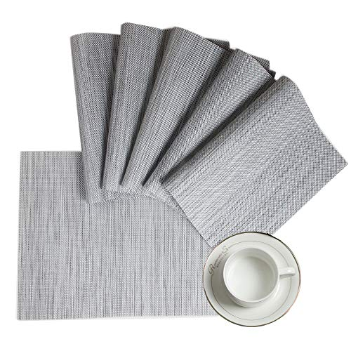 HEBE Placemats Set of 8 Woven Vinyl Placemat for Dining Table PVC Plastic Place Mats Washable Indoor Outdoor Table Mats Wipe Clean(Grey, 8)