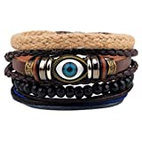 Winter's Secret Fashionable Suit Evil Eye Pattern Hand Braided Brown Leather Wooden Beaded Wrap Bracelet