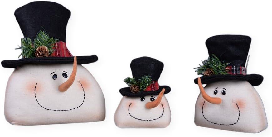 Transpac Imports Snowman Head Top Hat Family with Plaid Trim 12 x 9 Plush Christmas Figurine Set of 3