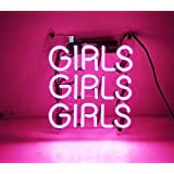 """New Beer Neon Sign Pink Girls 9"""" x 9"""" for Home Bedroom Pub Hotel Beach Recreational Game Room Decor"""
