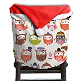 Owl Animal Christmas Chair Covers Decorations Comfort Touch Chair Covers For Christmas For Husbands Chair Back Covers Holiday Festive