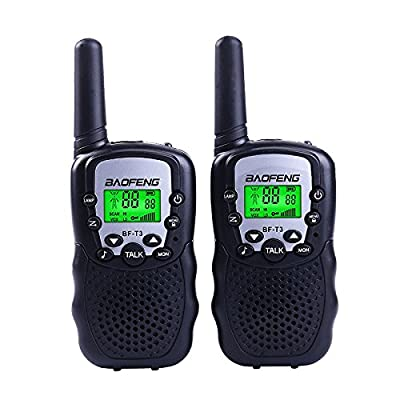 BaoFeng BF-T3 Kids' Walkie Talkies 22 Channel Children's Two-Way Radio FRS/GMRS UHF Long Range (1 pair)-Black: Home Improvement