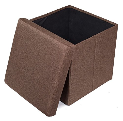 g Storage Ottoman | Upholstered | 16 x 16 | Linen | Strong and Sturdy | Quick and Easy Assembly | Foot Stool | Brown ()