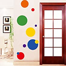 Geometric Colorful Dots Wall Sticker Paper Home Decal Removable Wall Vinyl Living Room Bedroom PVC Art Picture Murals Waterproof DIY Stick for Adults Teems Childres Kids Nursery Baby