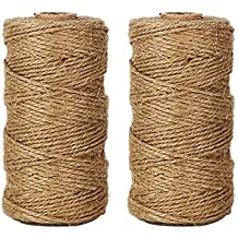 Tenn Well Natural Jute Twine 656 Feet Arts and Crafts Jute Rope Industrial Packing Materials Packing String For DIY Crafts, Festive Decoration and Gardening Applications (2ply,2 Pcs x 328 Feet)