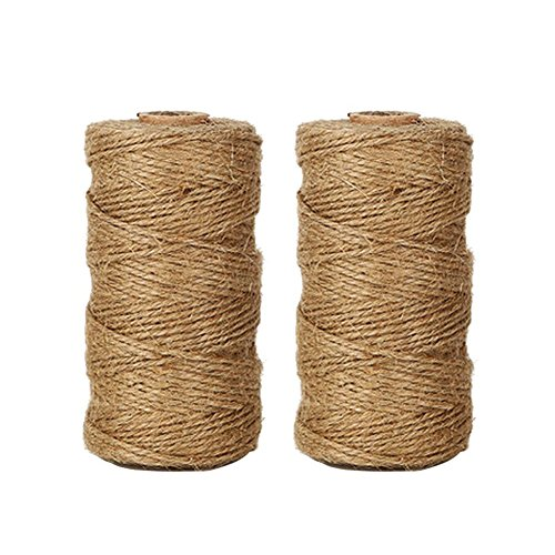 Tan Check Cord - Tenn Well Natural Jute Twine Arts and Crafts Jute Rope Industrial Packing Materials Packing String for DIY Crafts, Festive Decoration and Gardening Applications (2ply,2 Pcs x 328 Feet)