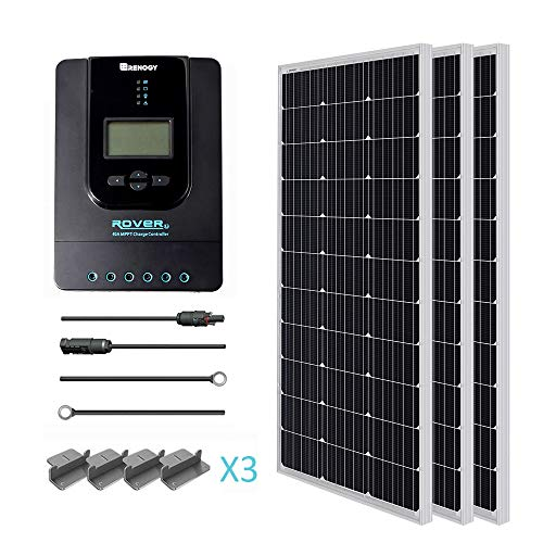 (Renogy 300 Watt 12 Volt Monocrystalline Solar Starter Kit with 40A Rover MPPT Charge Controller/Mounting Z Brackets/Tray Cable/Adaptor Kit)