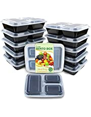 Enther Meal Prep Containers Food Storage Bento Box with Souffle Cups BPA Free/Reusable/Stackable, Microwave/Freezer/Dishwasher Safe, Portion Control Black