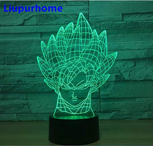 Night Light Super Saiyan Bust Goku Colorful Acrylic USB Goku 3D Led Dragon  Ball Z Figure Table Lamp Remote LED Light 3D38