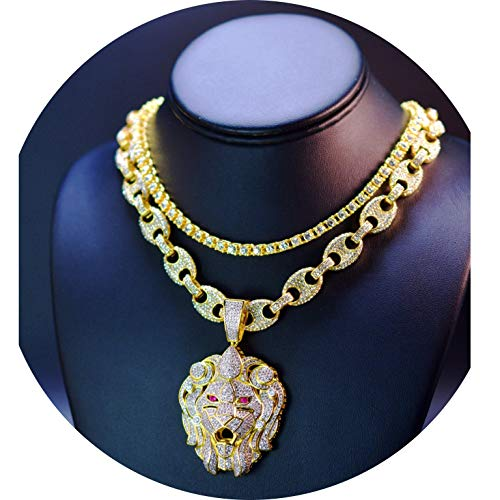 14K Gold Plated XL Micropave Lion Head Pendant with 18