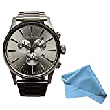 Nixon Sentry Chronograph All Gunmetal Mens Watch A386632 + Cleaning Cloth