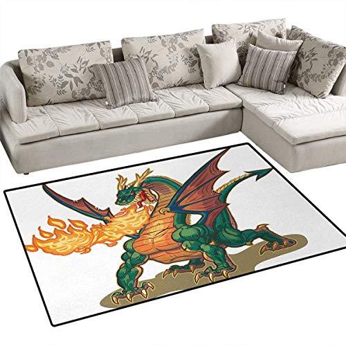 Dragon,Carpet,Mythical Fire Spitting Monster Dreamy Mascot Reptilian Culture Cartoon,Rug Kid Carpet,Dark Orange Hunter - Hunter Monster Props