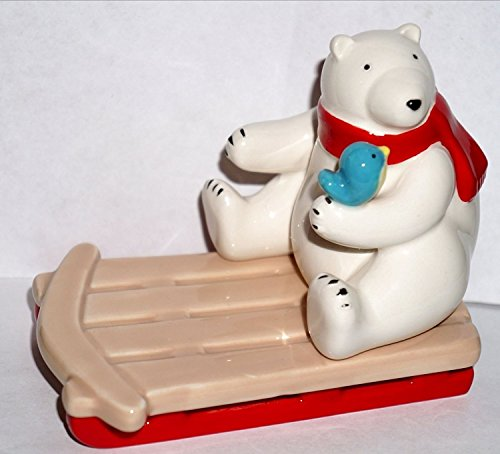 Bath and Body Works Ceramic Sledding Polar Bear Hand Soap/Small Candle Holder