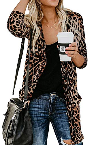 Leopard Printed Cardigans Lightweight Pockets product image