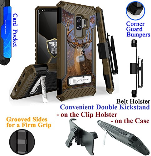for 6.2'' Samsung Galaxy S9 + PLUS Case Holster Phone Case Belt Clip 2 Kick stand Card Slot Corner Guard Bumper Grip Sides Hybrid Armor Cover (Camo Deer Buck) by 6goodeals