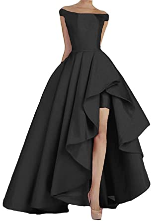 4e0573c678106 Fit Design Women's High Low Prom Dresses 2018 Long Satin Off Shoulder  Evening Party Formal Gowns