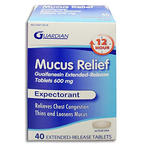 - Guardian Mucus Relief 12 Hour Extended Release Guaifenesin, Chest Congestion Expectorant Tablets (40 Count, 600mg)