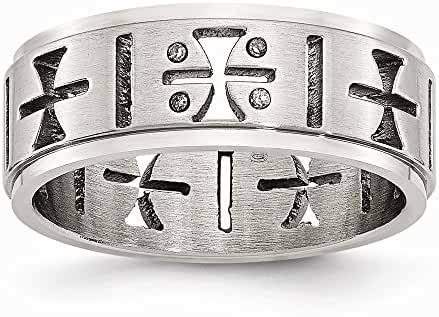 Stainless Steel Cutout Crosses with Diamonds Ring