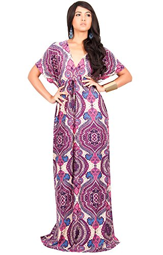 KOH KOH Womens Long Summer Kaftan Short Kimono Sleeve V-Neck Casual Maxi Dress