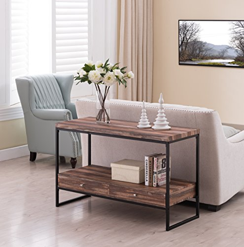 Reclaimed Weathered Oak / Black Metal Frame 2-tier Console Sofa Table Bottom Shelf with 2 Drawers by eHomeProducts