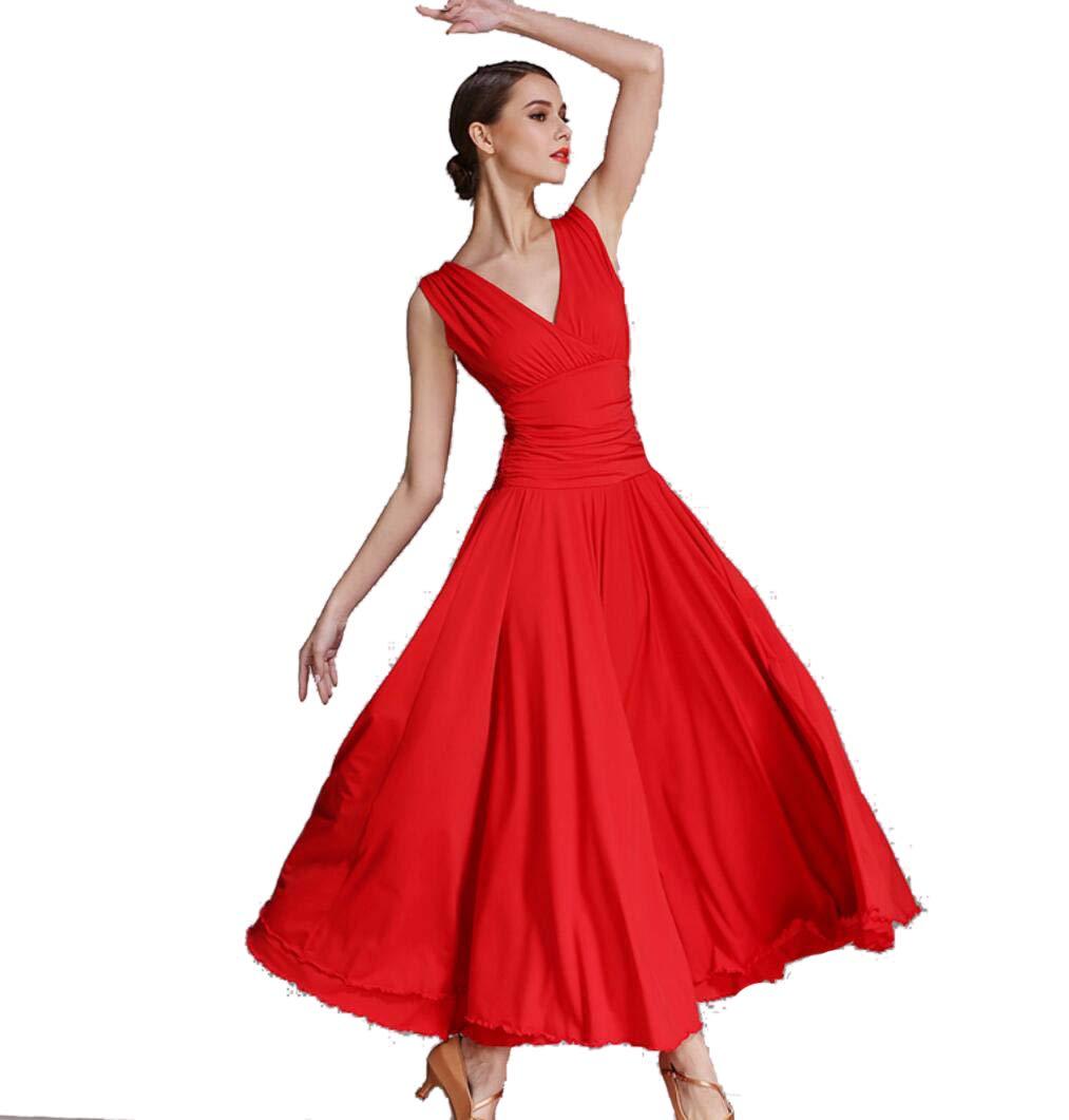 rouge L SMACO Robe de Danse Moderne pour Femmes, Robes Costumes de Danse Moderne Valse Robe de Danse Moderne pour Femmes