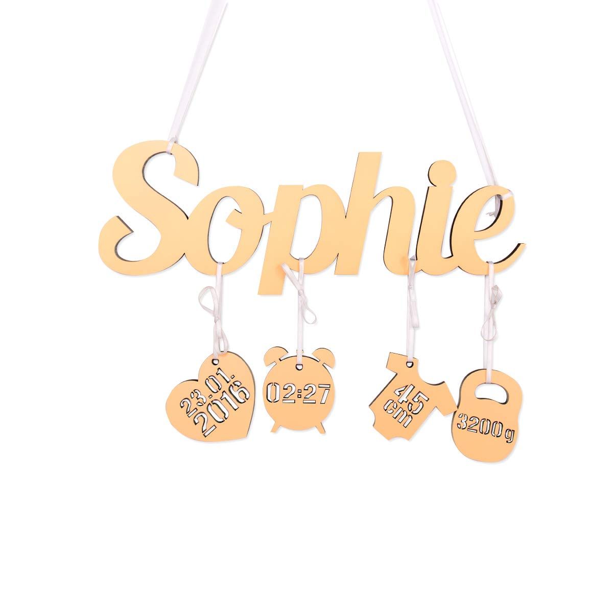 Orange W/ähle eine Farbe Kleinlaut 3D Babyset Ihr Wunschname als Schriftzug pers/önliches Geschenk zur Geburt 4 Anh/änger mit individuellen Daten des Kindes