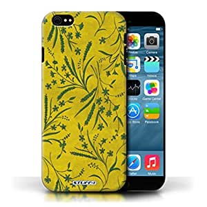 KOBALT? Protective Hard Back Phone Case / Cover for Apple iPhone 6/6S | Yellow/Green Design | Wheat Floral Pattern Collection
