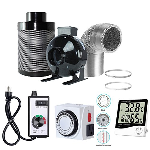 "$136.47 indoor grow tent diy BloomGrow 4"" Inline Fan Carbon Filter Ducting Combo + Fan Speed Controller + 24 Hour Timer Outlet+Thermometer Ventilation System for Grow Tent Kit (4"") 2019"
