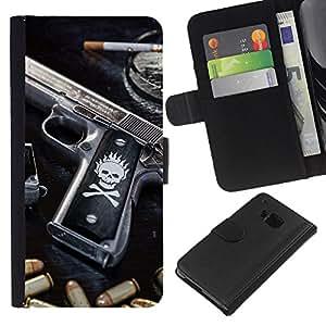 """JackGot ( Cráneo Killer gangsters Pistola y puntos negros"""" ) HTC One M7 la tarjeta de Crédito Slots PU Funda de cuero Monedero caso cubierta de piel"""