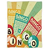 iPrint Super Soft Throw Blanket Custom Design Cozy Fleece Blanket,Vintage Decor,Bingo Game with Ball and Cards Pop Art Stylized Lottery Hobby Celebration Theme,Multi,Perfect for Couch Sofa or Bed
