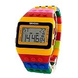 Reloj SHHORS Digital Unisex Bloque de múltiples funciones. Carátula color Amarillo con Negro y un extensible de caucho de diferentes colores.