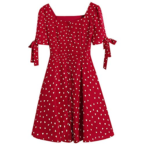 Dress Floral Chiffon Dress Square Collar Short Sleeve A-Line Skirt Woman(Red,M)