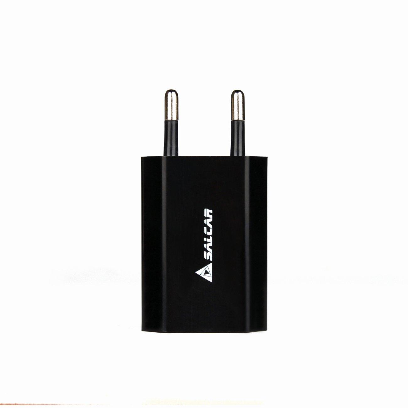 Salcar - 5V 1A Cargador/Adaptador/Adapter 5W para Apple MD813 A1400, iPhone 5 5s, iPod, iPad Mini USB Power, Negro