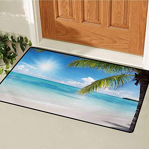 GUUVOR Summer Front Door mat Carpet Tropical Paradise Beach with Coconut Palms Crystal Ocean Clear Sky Machine Washable Door mat W15.7 x L23.6 Inch Sky Blue Fern Green Pearl
