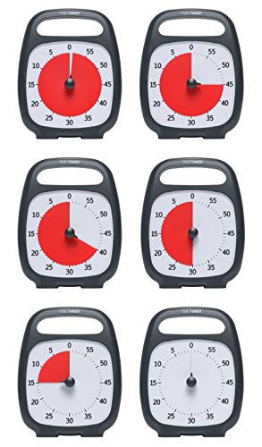 """Time Timer TTP7-W TTP7-W Plus 60 Minute Visual Analog Timer; Optional Alert (Volume-Control Dial); Silent Operation (No Ticking); 5.5"""" Wide x 7"""" Tall; Time Management Tool; Charcoal by Time Timer (Image #10)"""