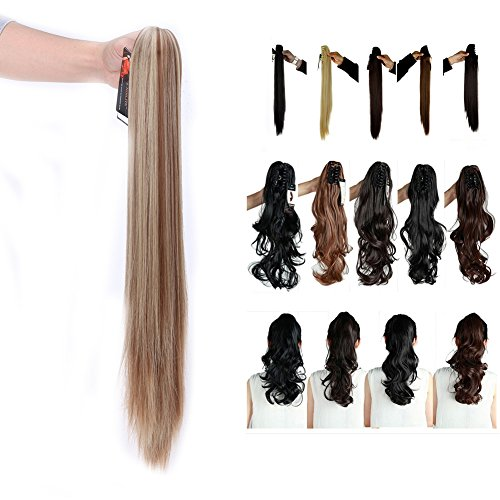 Synthetic Claw Ponytail Heat Resistant Handy Jaw Pony Tail One Piece Long Straight Soft Silky for Women Lady Girls 26'' / 26 inch (light brown mix ash blonde) - Brown 26'