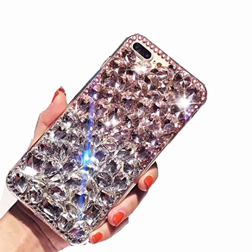 Alcatel Fierce 4 Case,Alcatel Allura Case,Alcatel Pop 4 Plus Full Crystal Diamond Case, 3D Handmade Luxury Sparkle Crystal Rhinestone Diamond Glitter Bling Clear TPU Case (Pink/White)