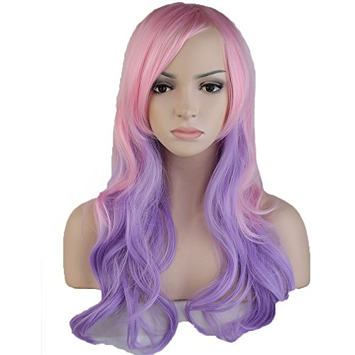 Anime Cosplay Wigs Layered Ombre 24 Inch Long Wavy with Bangs Full Wigs for Women Ladies Costume 7 Styles Pink Purple