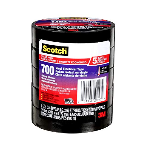 (Scotch 24413-BA-6 700 3/4-Inch by 66-Feet by 0.007-Inch Vinyl Electrical Tape, 5-Pack )