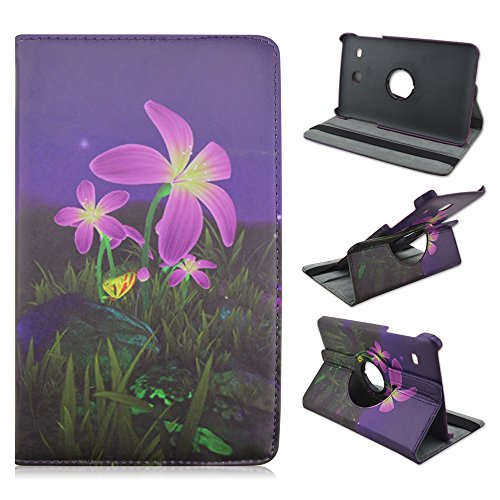 Galaxy Tab E 8.0 inch Case, Gift-Hero(TM) 360 Degree Rotating Leather Case Smart Cover for Samsung Galaxy Tab E 8.0 T375 / T377 with Auto Sleep/Wake Function (Night Flower) (Flowers For Wake)