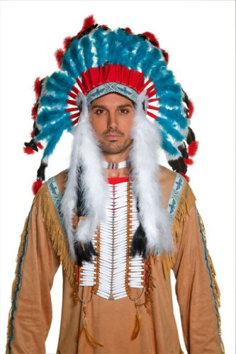 Smiffy's Adult Unisex Native American Indian Headdress, Blue, One size, (Indian Head Dresses)