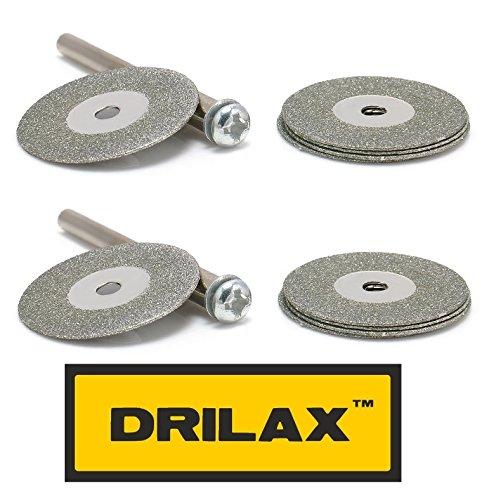 DRILAX 10 pcs 7/8 inch Diamond Cutting Disc Gem Stones, Metal, Glass, Ceramics, Porcelain, Tiles, Carbide, Rocks Cutting Blades ()