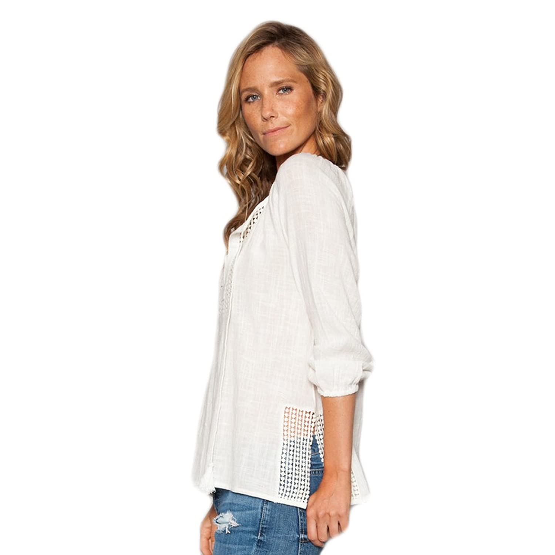 Dylan Women's Crochet Peasant Shirt Perfect White