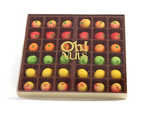 Oh! Nuts Marzipan Candy Fruits, Holiday Marzipans Gift Tray in a Fancy Box, Unique Basket for Women & Men Alike, Send it Christmas or Thanksgiving Gourmet Gifts Food Idea (36 Piece) ()