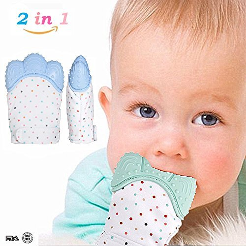 Baby Teething Mitten for Babies between 4 ~ 12 Months, BPA Free Food Grade Silicone Soothing Gum Relief Teething Gloves, Protect Babies from Hand-chewing, Biting and Saliva (1 pc) (Blue) (Blue)